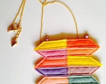 Felt Geometric Shapes, Color Block Necklace, Statement Necklace
