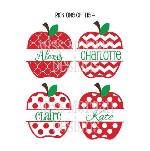 Items similar to Pick One Personalized Split School Apple Polka dot