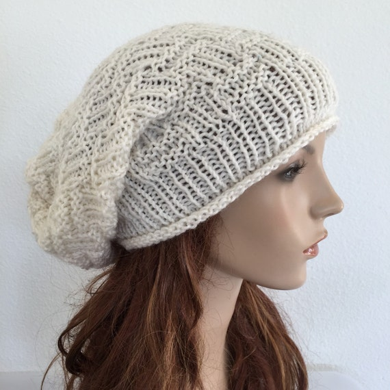 Hand knit hat, Chunky  Hat, ivory wool hat