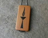 Thin UU Flaming Chalice  - Laser Engraved Bamboo Pendant Coming of Age