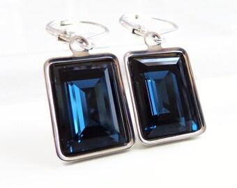 Navy Blue Crystal Earrings - Bridesmaid Jewelry - Weddings