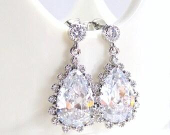Bridal earrings - cubic zirconia earrings - teardrop - clear crystal drop earrings