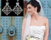 Art Deco Bridal Earrings, Statement Jewelry, Victorian Wedding, Swarovski Earrings, KARMEN