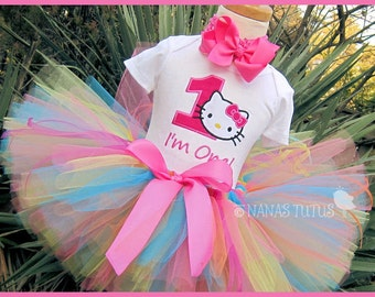 1yr, Ready to Ship, 1st Birthday Kitty with Number, Party Outfit, Theme Party, Tutu Set