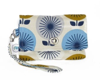 Organic Handmade Mini Clutch - Navy Retro Flowers - Free Shipping