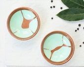 Pair of two small resin salt and pepper spice pinch trinket dish bowls in metalic copper and pale pastel mint.