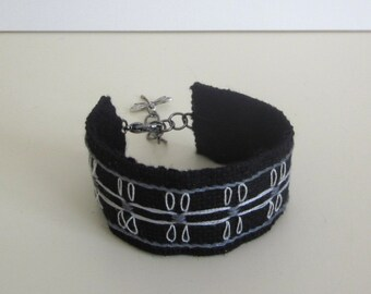Textile cuff bracelet, hand embroidered, black, boho fabric jewelry, hand stitched jewellery