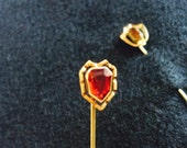 Two Hat Pins Amber and Garnet