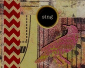 Sing Collage Art, ACEO, One of a Kind, OOAK, Mini Art, Original