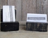Rustic Wood Business Card Holder, Country, Office Decor, Card Stand, Placard Holder, Small, Organizer, Black, Distressed, Display Stand