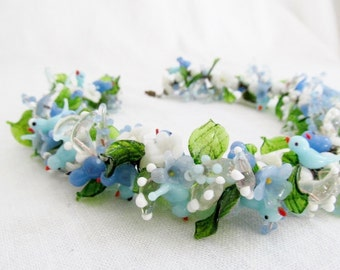 Stunning Italian Bird and Flower Murano Glass Necklace Garland from Italy Blue Green White