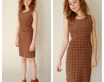 Ditsy Sheath Dress Vintage 50s Brown Daisy Flowers Cotton Corduroy Sheath Dress  (xs)