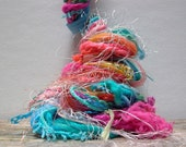 coral reef fringe effects™  art yarn bundle 21yds specialty ribbons fibers tropical embellishments . aqua turquoise coral orange pink