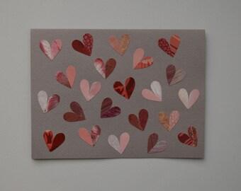 Pink Hearts Valentine Note Card, Hand Cut Vintage Wallpaper, OOAK, Pink Shades, I Love You, Romance, Valentines's Day, Anniversary, Children