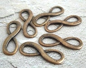 6 Copper Infinity Eternity Connectors Links Charms