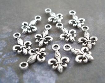 Fleur De Lis Charms Antiqued Silver Tiny