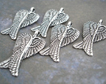 5 Angel Wing Charms Pendant Antiqued Silver Overlapping