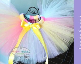 Pastel Rainbow Unicorn Baby tutu {Spring Spree} Aqua, Pink, yellow, lavender First Birthday, Vintage Circus, Cake Smash photography prop