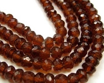 Hessonite Gemstone  Faceted Rondelles, 4.5 to 5mm Your Choice Semi Precious Gemstone. (13HES)