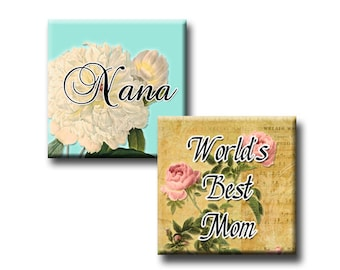 Clip Art - Mother Nana Mom Digital Collage Sheet Printable 1 Inch Square Images for World's Best Mum INSTANT DOWNLOAD for Stickers Jewlery