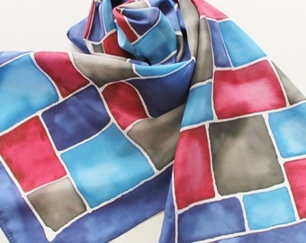 Hand Painted Silk Scarf - Handpainted Scarves Navy Red Royal Sky Slate Dark Blue Crimson Burgundy Maroon Gray Grey Black Charcoal Dyed