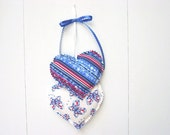 Americana Heart Hangings, Hearts Wall hanging, Fabric Wall Hanging, 4th of July Decorations
