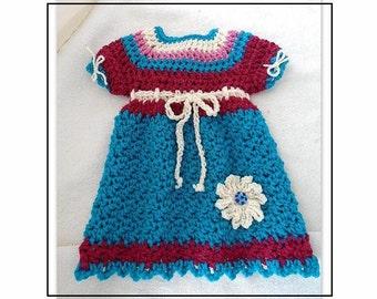 "DRESS CROCHET PATTERN, Baby Dress, Girl's Dress, Newborn to 6 years, ""Tyra"", # 779, crochet dress, child's dress, children's clothing"