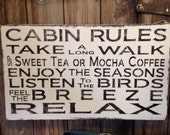 Shabby Hand Painted Cabin Rules Handmade Painted Wood Sign Subway Style