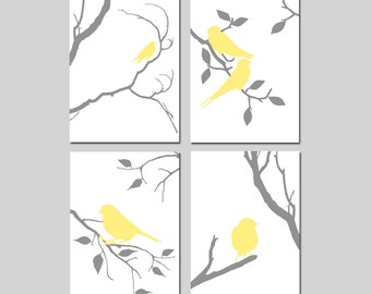 Birds of a Feather Wall Art Quad - Set of Four 5x7 Coordinating Nature Prints - CHOOSE YOUR COLORS - Shown in Pale Yellow and Gray