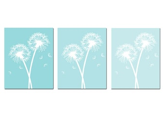 Modern Dandelion Floral Art Trio - Set of Three 8x10 Coordinating Prints - CHOOSE YOUR COLORS