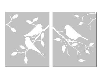 Birds of a Feather Duo - Set of Two 8x10 Coordinating Prints - CHOOSE YOUR COLORS - Shown in Pale Gray, Yellow, and More