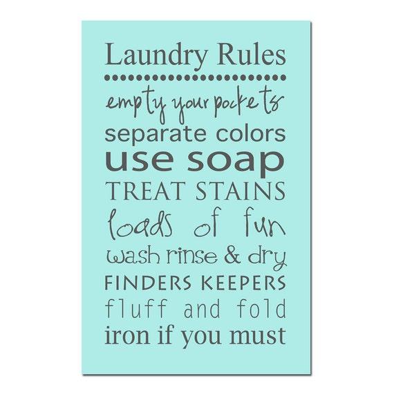Laundry Rules 13x19 Print Laundry Room Decor Wall Art