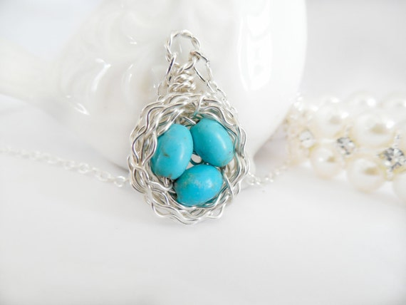 Birds Nest Neclace - Wire Wrapped - Sterling Silver -Tiny Robin's Eggs
