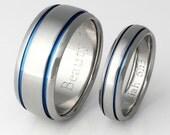 Titanium Ring Set - His and Hers Matching Titanium Wedding Bands - Thin Blue Line - Blue Titanium Rings - stb10