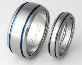 Titanium Ring Set - His and Hers Matching Titanium Wedding Bands - Thin Blue Line - Blue Titanium Rings - stb10
