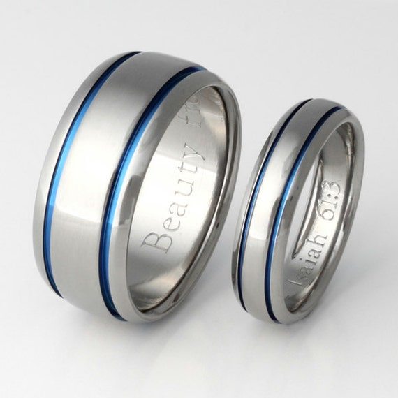 Items Similar To Titanium Ring Set His And Hers Matching