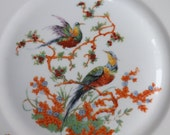FREE SHIPPING vintage Bohemia Czecho Slowakia decorative plate with birds