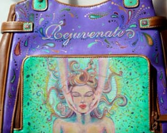 Rejuvenate, Hand painted faux leather purse