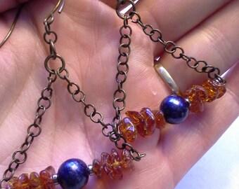 Modern Earring Chain Earring Bronze Earring Balitc Amber Earring Pearl Earring Modern Pearl Earring Blue Pearl Earring Boho Jewelry OOAK