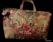 Red, Pink Floral on Gold Linen Drapery Fabric CarpetBag