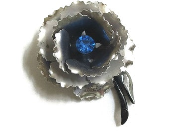 Enamel and Blue Rhinestone Flower Brooch Vintage