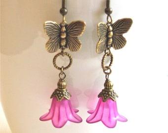 Butterfly Earrings - Flower Earrings, Butterfly Jewelry, Nature Jewelry, Fuschia Earrings
