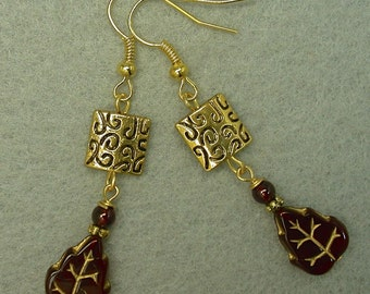 Vintage German Glass Leaves Bead 1950s Garnet Red Dangle Drop Earrings, Gold Etched Square Beads - GIFT WRAPPED