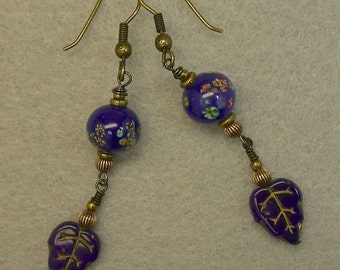 Vintage German 1950s Dark Blue Gold Pressed Glass Leaf Bead Earrings,Vintage Japanese Lapis Blue Millefiori Glass Bead