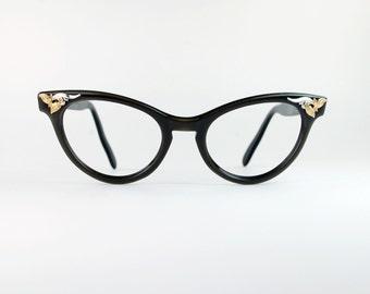 Floral Cluster Cat Eye Sun/eyeglasses Frames American Optical  Green Olive Frame 1950s