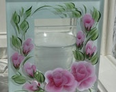 Votive candle holder, Hand Painted with pretty pink Roses,
