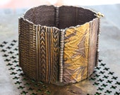 Textured Hinged Panel Bracelet with Gold