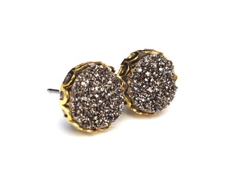 Coffee Bronze Druzy Drusy Post Stud Earrings in Gold Colored Lace Setting with Nickel Free Titanium Posts