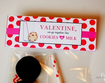 INSTANT DOWNLOAD - Valentine's Day Cookies & Milk Bag Toppers - Treat Bags / Favor Bags / Class Favors - DIY Printable File