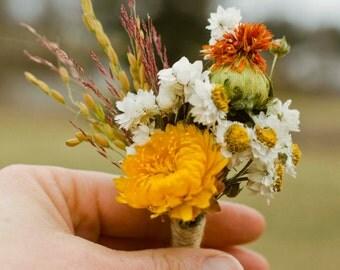 Golden boutonniere, dried flower boutonniere, fall wedding, fall bouquet, autumn wedding, gold wedding